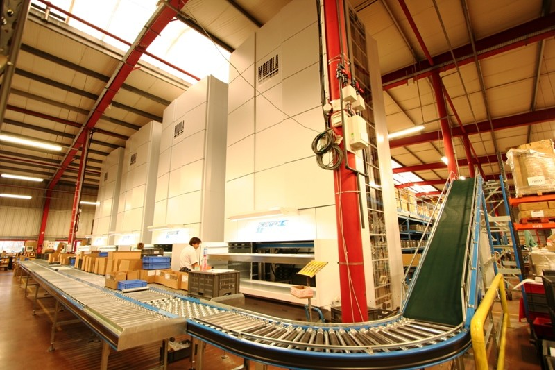 Mezzanine floor with conveyor systems